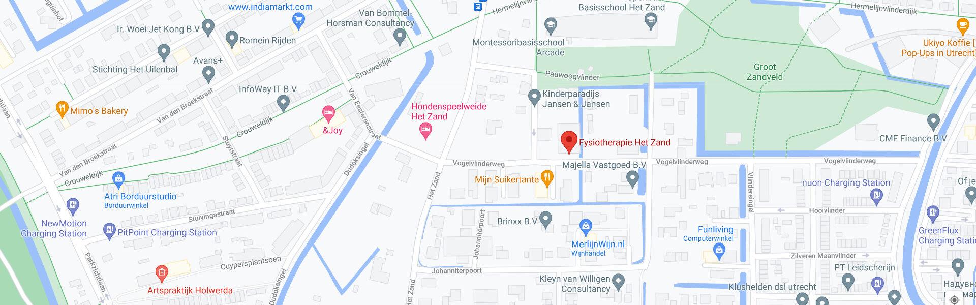 Locatie map Fysiotherapie Het Zand, Vogelvlinderweg, Leidsch Rijn